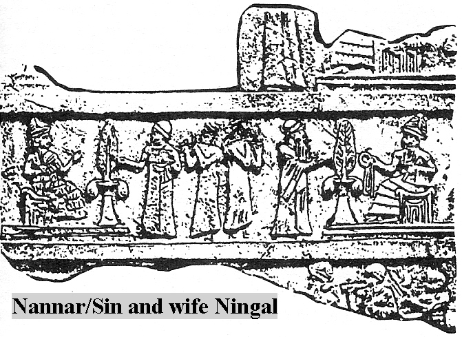 3g - Nannar & spouse Ningal, drawing of artefact, Ur-Nammu was the mixed-breed son to goddess mother Ninsun & mixed-breed father Lugalbanda, he was 2/3rds divine, which made him smarter, taller, stronger, & lived longer than the others, a perfect go-between for the gods & earthlings