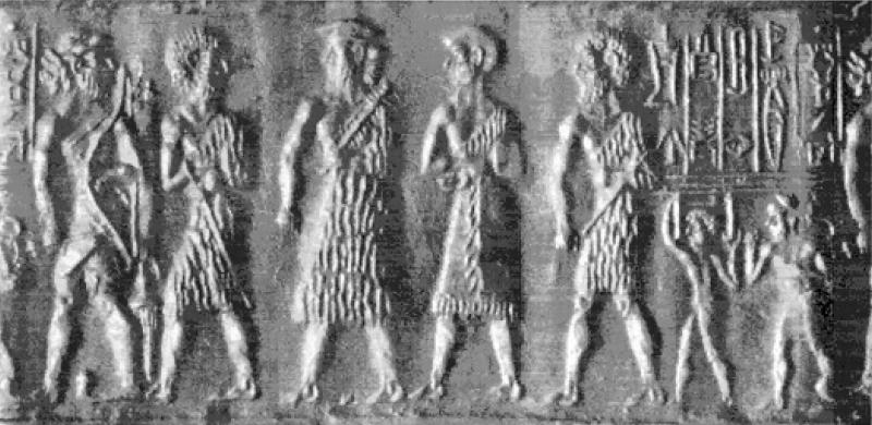 4d - Eannatum votive stela, a scene from the days of mixed-breed King Eannatum, apx. 2,600 B.C., who walked & talked with the giant alien gods of Mesopotamia