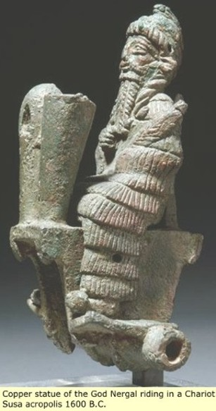 4d - Nergal seated in his sky-chariot 1,600 B.C., artefacts of the gods in their flying machines, described by ancient civilizations as sky-ships, sky-chariots, boats of Heaven, dragons, flying carpets, etc., etc., artefacts of the gods are being destroyed by Radical Islam attempting to eradicate anything contradictory to the teachings of their prophet