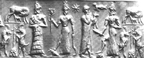 4d - Ereshkigal, Inanna, Nannar, & Utu, Nannar with his 3 children, Inanna in one hand holds a sword weapon, in the other hand is either the Liberty Torch, or the 3-headed weapon of Nergal