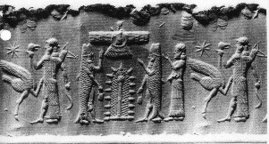 4e - Enki & Anzu meet Alalu on shore, Enki & crew of 50 splashed down into the Persian Gulf, donned a fish's suit, & swam to shore, Enki arrived on Earth to verify Alalu's claim that he found gold here