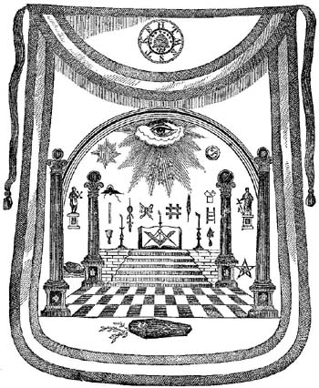 4e - Washington's Masonic Apron with Sumerian symbols of alien gods, Horus symbol found everywhere in secret societies around the world, the memory of Horus is honored by governments, organizations, religions, & secret societies of the power-brokers of all things on Earth