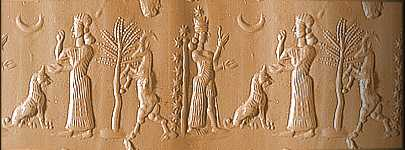 4g - Bau, her dog, & sister Ninhursag, visiting her sister Bau in Isin, her home city, daughters to Anu, the Aninnaki alien giant king of Heaven & Earth