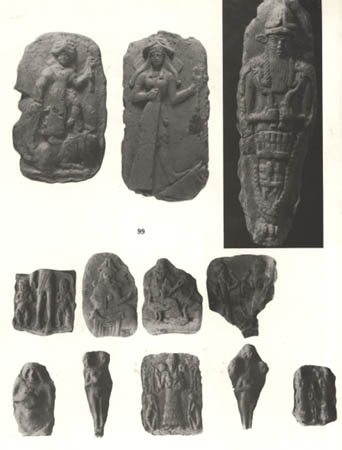 4h - young goddess Inanna with long hair in top 2 artefacts