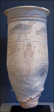 "4l - ancient artefact of nude flyin Ishtar on a vase,  the Goddess of Love, the spouse to uncounted mixed-breed kings of old, the Biblical ""Heroes of old, men of renown"", the ""mighty men"", the giant mixed-breed offspring of the gods, produced when the sons of god(s) came down from Heaven & had sex with the daughters of men SEE GENESIS:6"