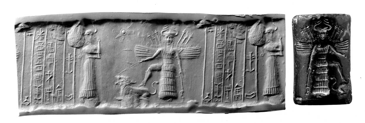 5 - Assur cylinder seal artefact of the goddess Inanna, with her foot upon her zodiac sign Leo the lion, & her assistant goddess Ninshubur, artefacts of the gods are shamefully being destroyed by Radical Islam, attempting to keep Muslims from true ancient historical knowledge that directly contradicts their belief system