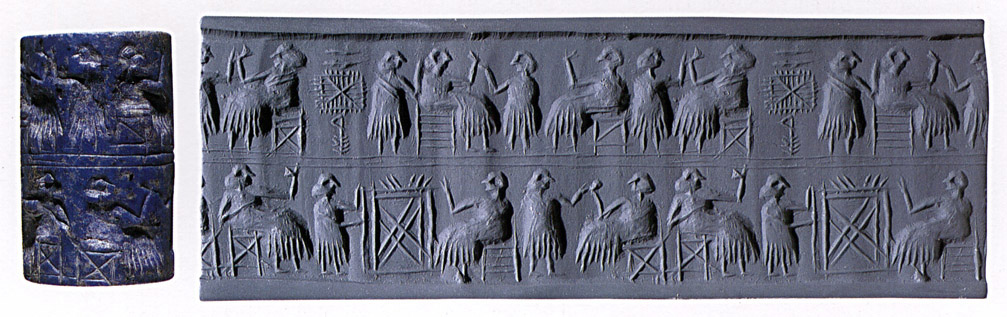 5 - Lagash cylinder seal, early queen with her spouse, at times in Mesopotamian history, there were queens holding power over all, lots of work was needed to be done, both in the land of Eden - Mesopotamia & in the gold mines of SO. Africa