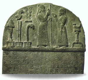 5 - Babylonian artefact 2,200-1,750 B.C., Marduk greets a mixed-breed king or scribe of Babylon