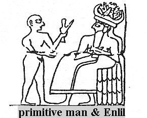 "4ga - Adapa meets Enlil in Eden, Enlil was very pleased, decided to keep Adapa there in Eden, as the ""Model Man"", relieved of heavy work, but his descendants were not"