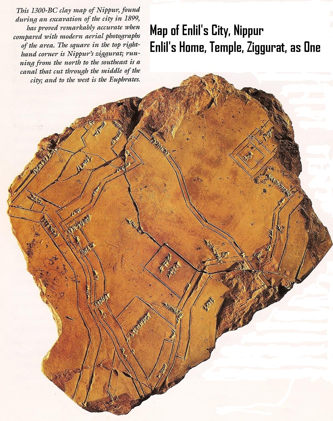 5a - Nippur Map, thousands of years old artefact map of Nippur, as if from an areal view, a time when the Tigris River was flowing next to Nippur