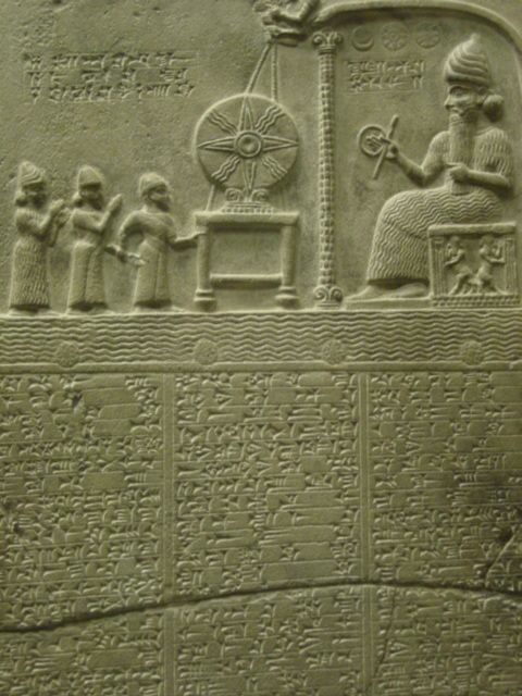 5a - Sun god Tablet with text, Inanna, Marduk, King Nabu-aplu-iddina, & Utu seated & pulling strings to the wheel of justice