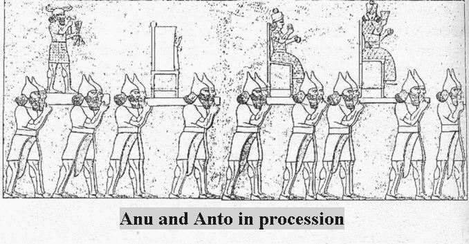 """5b - Anu & Antu's welcoming procession on Earth Colony, it was Anu's descendants that became the alien powerful gods known by the """"black-headed"""""""