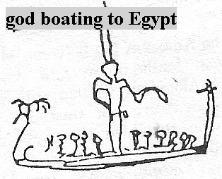 5b - giant god directing earthlings to row the boat to Egypt for trade of goods, a time in our long forgotten past when the alien giants walked & talked with earthlings, directing them all the way