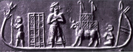 5c - Enki shipping the mined gold to be smelted, shipping on the Euphrates & Tigris Rivers begins in Sumer