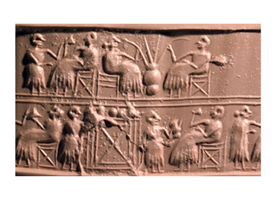 "5c - Sumerian scene of early earthling drinking,  the cellar, brew storage scene below, Ancient Sumer is where earthling history began, when the gods fashioned ""modern man"" into their image, & into their likeness, to be their replacement workers in all trades"