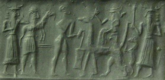 5 - sacrifice offered to Marduk, son Nabu, mixed-breed king with offering, earthling worker, Marduk, & other son Ashur