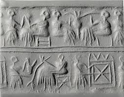 5d - Sumerian artefact of early earthlings drinking, artefacts have been shamefully destroyed by Radical Islam, foolishly thinking they can hide & destroy knowledge of the alien gods, evidence that directly contradicts the power-brokers of Islam, fearing their loss of credibility