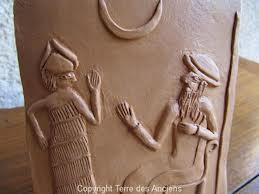 4c - goddess Lama & god of Ur, Nannar, directing events in Ur, the New York of Sumer, scenes of Lama & Nannar were plentiful in Sumer, especially in Ur, these artefacts are shamefully being destroyed by Radical Islam