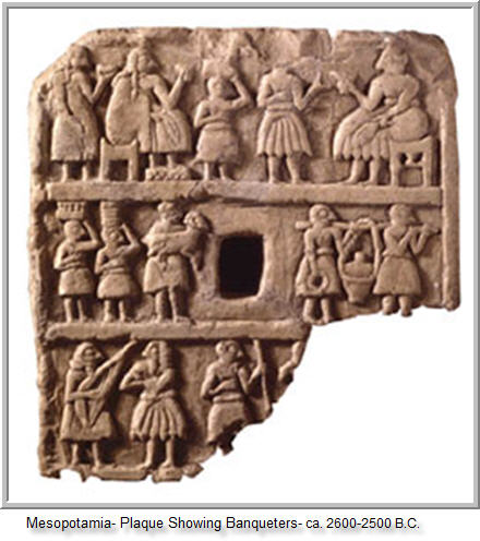 5e - Mesopotamia plaque depicting banquete attendees, musicians, offerings, etc. to the giants, artefacts have been shamefully destroyed by Radical Islam, foolishly thinking they can hide & destroy knowledge of the alien gods, evidence that directly contradicts the power-brokers of Islam, fearing their loss of credibility