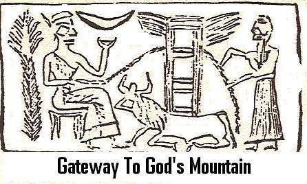 "5ee - alien gods & the Gateway to God's Mountain, ""Jacob's Ladder"", ""Stairway to Heaven"", landing zone fot the giant alien gods, witnessed & preserved the scene by the earthlings of the time, who could not understand the advanced technologies of the aliens who dazzled the early earthlings"