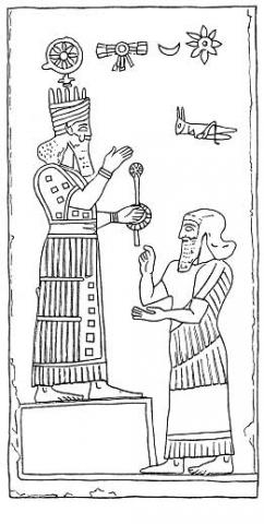 "5aa - alien giant god Ashur atop his temple - house, & his Assyrian king paying obedience to his protector, Ashur was the god whom kings swore ""goes before me"" to clear out any major threats from his enemy, insuring the outcome desired by the gods, flying disc symbol of planet Nibiru, moon crescent symbol of Nannar, & 8-pointed star symbol of Inanna above giving their protection"