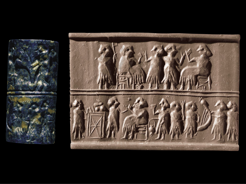 5h - Sumerian artefact of an early earthling banquete with giants, artefacts of the giant alien gods are shamefully being destroyed by Radical Islam, attempting to eliminate evidence from our long forgotten past, that directly contradicts the 7th century A.D. doctrines of Islam
