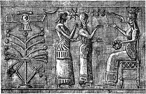 5j - unidentified goddess, Ninhursag, & Inanna on a Babylonian Cylinder, flying disc of planet Nibiru, Nannar's moon crescent, Anu's 8-pointed star, & Enlil's 7th planet - Earth, symbols of the gods