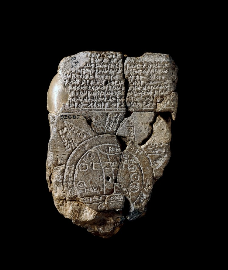 6 - Assyrian artefact of the Babylonian Map of the World, this could be known only, if it were viewed from the air, by the alien gods