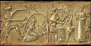 6a - Inanna in the Underworld, Dumuzi looks on, Dumuzi's sister Geshtinana wanted to help him down in the Underworld, the home of Ereshkigal & her spouse Nergal, a place with everything one needs under ground