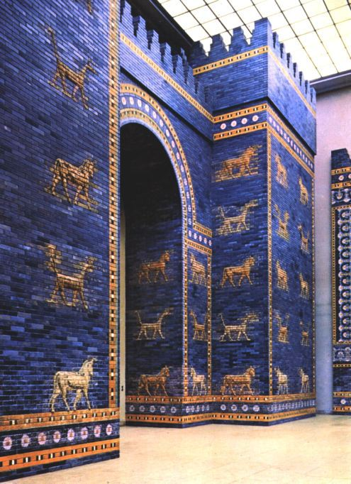 6b - Ishtar - Inanna Gate in Babylon, made special for her with lapis-lazuli, a blue hued stone, her preferred gem-stone, a gesture by Marduk trying to please cousin Inanna