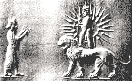 """6c - Anu with Inanna atop Zodiac Leo - lion symbol, Nannar's daughter Inanna, a mistress to Anu when he """"came down"""", spoiled with authority, & alien technologies given her by great-grandfather Anu, a flying disc & certain weapons"""