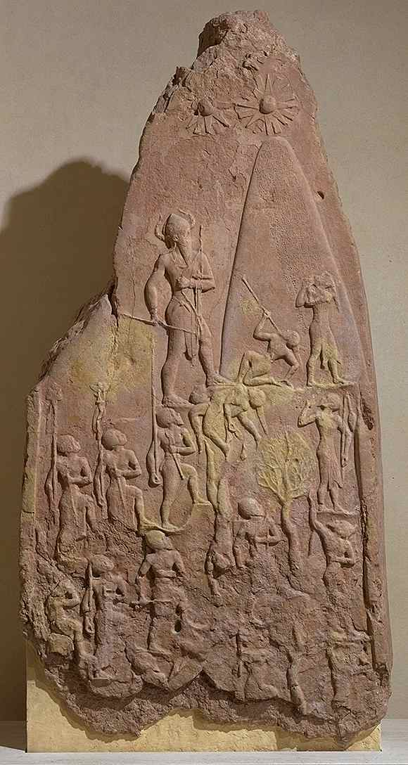 6cc - Sargon's grandson Naram-Sin Victory Stela, a scene of the giant mixed-breed king Naram-Sin on a mountain standing outside of a landed shem, a shem is the command module of a flying machine, the gods used these to traverse the skies, these are some of the multitudes of artefacts that contradict modern religions, & Radical Islam seeks to destroy all of them, wishing to hide the truth from the people