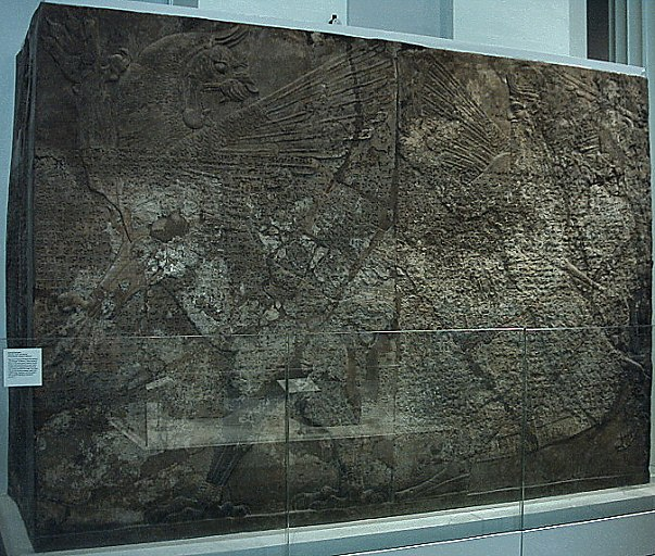 "6cc - famed Ninurta and Anzu battle, huge wall now in a museum ""SEE THE MYTH OF ANZU"" TEXT, also ""Babylonian Creation Story Text"""