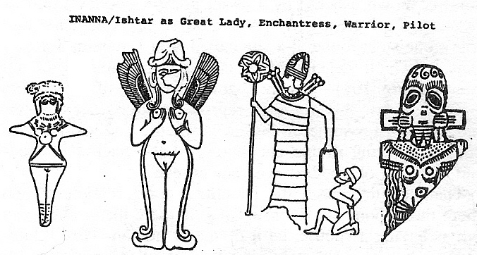 6e - winged naked Babylonian goddess Ishtar, Sumerian goddess Inanna, the giant alien Goddess of Love & War, SEE INANNA TEXTS ON HER PAGE