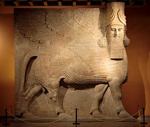 6e - Nimrud Shedu, Lammasu, a no longer existing artefact of when giant aliens from planet Nibiru came & colonized Earth, created man in their image, & in their likeness, to become the workers for the gods
