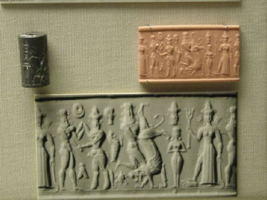 "6g - Enkidu, Gilgamesh, & Inanna, scene from the tale ""Epic of Gilgamesh"", SEE GILGAMESH TEXTS"