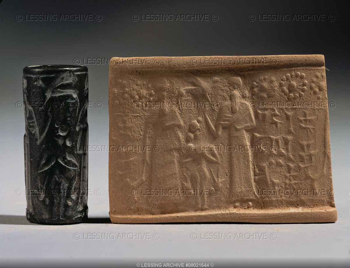 Enlil, naked Inanna, & Enki, wet clay imprinted by rolling reverse carved stone over it, a form of copy machine