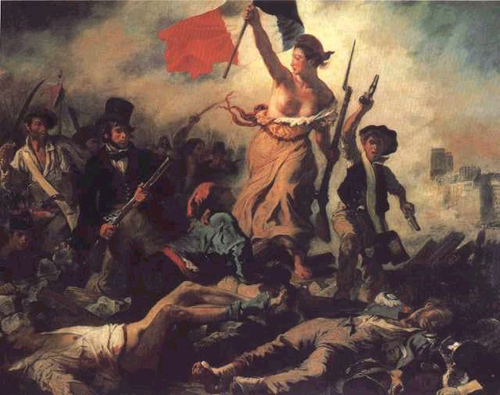 6y - French Revolutionary War, ancient giant goddess Liberty leads the troops from the front of the line