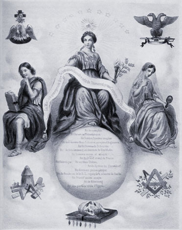6z - Paris, masonic womenhead, with symbols of the gods above