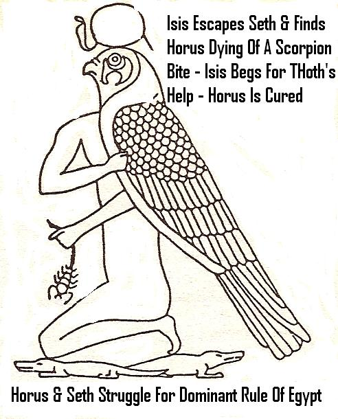 7 - Horus dying of a scorpion bite, Ningishzidda / Thoth saves grand-nephew Horus from a poisonous death