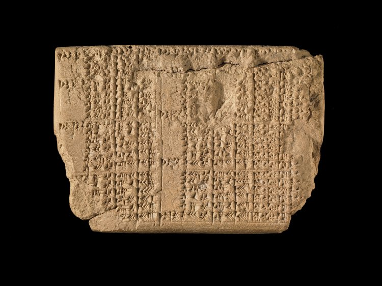 7 - Mesopoyamian tablet artefact, text describing Noah's Water-Clock given to him by Enki, showing him when to board