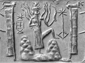 7 - Utu - Shamash, giant alien god of the Spaceport, carved into the mountains, away from the earthlings, creating wonderment for the earthlings of god's mountain, Utu carved the mountaintops into their launch & landing sites, giving off images of tremendous thunders & fires