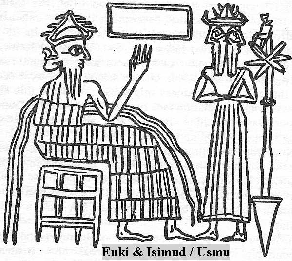 7a - Enki & Isimud, his vizier, Roman Janus = January, in the abzu, Enki's home in the marshlands of the Persian Gulf