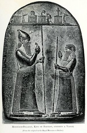 7a - giant alien god Marduk & Marduk-apla-iddina II, god & subservient king, royal bloodlines of the gods were mixed with earthlings, the offspring also protected their bloodlines, marrying full sisters, 1/2 sisters, 1st cousins, & the like, for they were taller, stronger, smarter, & live longer than the other earthlings, just as in the 1st 20 generations of Heroes in the Bible, SEE SUMERIAN KINGS LIST