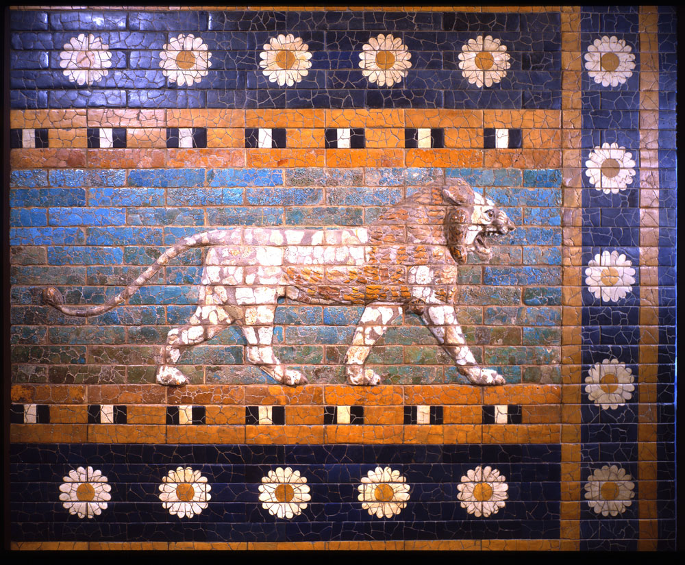 7b - Marduk had built this beautiful mozaic of a striding lion on his Babylonian wall, the lion represents Inanna's zodiac constellation of Leo, a period of time clocked by the gods, when Inanna claimed dominance over the gods & kings, Inanna is depicted standing upon a lion in hundreds of Mesopotamian artefacts, SEE INANNA