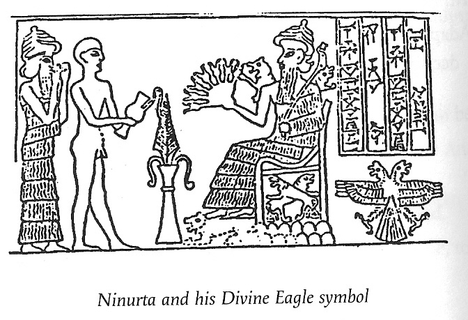 "7c - unidentified giant alien god, mixed-breed earthling, & Ninurta on his throne in Lagash holding alien high-tech weaponry, his ""50-headed mace, ""Ninurta & his born of the ""double seed"" symbol, the double-headed eagle, the oldest crest on Earth, SEE NINURTS SYMBOLS ON HIS PAGE"