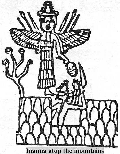 7d - Inanna hovers atop the mountains that her brother Utu has cut out of the rock their launch & landing sites, away from the earthlings, Utu was in charge of the Anunnaki shipping to & receiving of goods from their home planet, Nibiru, SEE NIBIRU PAGE
