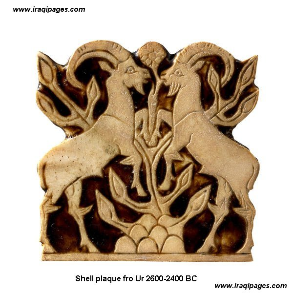 7d - shell plaque from Ur, gold & lapis-lazuli artifact, sheep were brought by the gods to Earth, they taught Abel & descendants to raise them for the gods to eat, thus the sacrifice to the gods was born