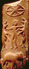 7s - low hovering alien disc with alien on the ground battling earthling beasts, ancient artefact uncovered from the Indus Valley, lands granted to the Mesopotamian Goddess of Love & War, Inanna