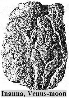 Roman goddess Venus (Inanna) holding father Nannar's moon's crescent symbol of thousands of years prior to Rome